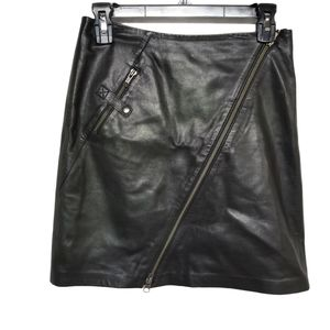 Cache Black Lamb Leather Mini Skirt Zippers 0
